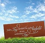 """Ferrum Edelrost Spruchtafel """"ein Tag ohne Lächeln"""" Gedichttafel Gartenschild Metall Rost Tafel"""