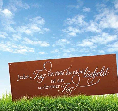 """Ferrum Edelrost Spruchtafel \""""ein Tag ohne Lächeln\"""" Gedichttafel Gartenschild Metall Rost Tafel"""