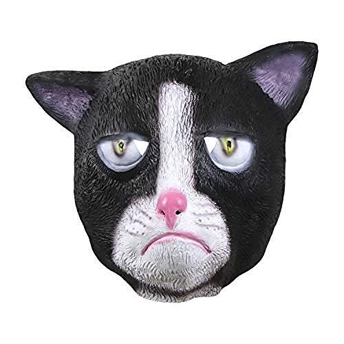 Grumpy Cat Kostüm - Horrormaske Grumpy Cat Mask Halloween Kostüm Party Neuheit Tierkopf Latex Maske Schwarz und Weiß@Schwarze mürrische Katze,Gruselige Maske