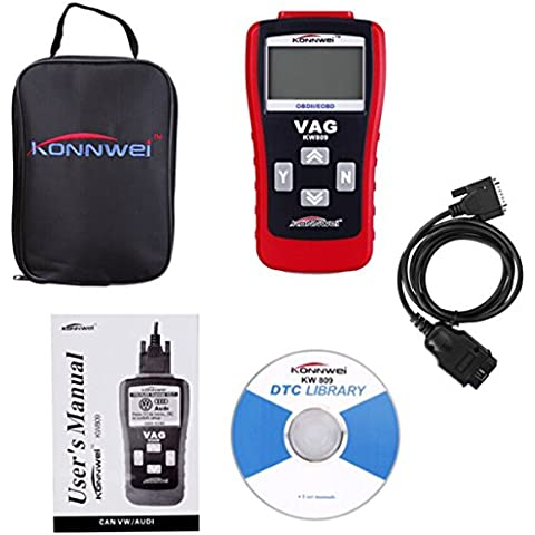 Universale Professionale auto Diagnostico Strumento Multifunzione Scanner OBD2 / EOBD codice carta lettore lettura Decoder Automotive guasto Diagnostico Apparato Tester Portatile Intelligente auto Guasto Autotest Strumento con LCD Display KW809