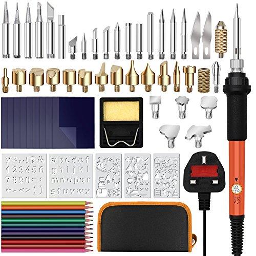 Skerito 70 Stück 2in1 Holzbrennstifte-Set & Lötkolben-Set, 60 W einstellbare Temperatur, Lötkolben-Stift, Kohlepapier, Bleistifte, Ständer mit Schwamm (Holzbrenner-Set)