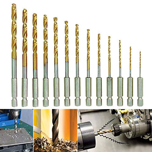 Drill Bits - 13pcs Hexagonal Handle Twist Drill Bit Titanium Plated 6.35mm Speed Steel - Adapter Driver Impact Lenth Extended Brick Orthopedic Twist Screwdriver Bulk Sharpener Large Cuticle Jo - Irwin Magnetic Holder