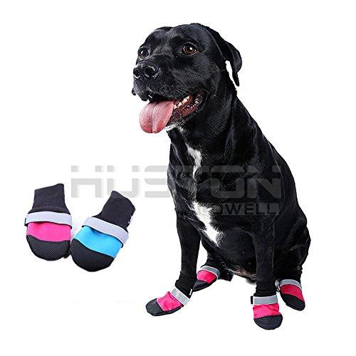 Aution House -4 Pcs Impermeabili Leggero Antiscivolo Stivali per Cani - Zampa Protettore Stivali Cane (Leggero Pioggia Poncho)
