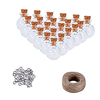 PandaHall Elite About 50 pcs Mini Cute Small Cork Glass Wishing Bottles Vials With Iron Screw Eye Pin Bail Pegs And Hemp Cord Twine String For DIY Jewelry Pendant Making