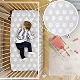 Rabitat Organic Cotton Fitted Owl Cradle Bedsheet for Cribs/Cots (White)