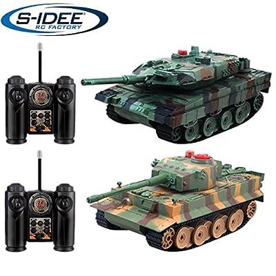 s-idee® 01662 2 x Battle Panzer 1:28 mit integriertem Infrarot Kampfsystem 2.4 Ghz RC R/C ferngesteuert, Tank, Kettenfahrzeug, IR Schussfunktion, Sound, Licht, Neu, 1:24, Schuss Sound, Beleuchtung von s-idee®