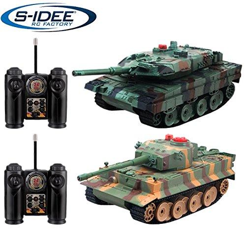 s-idee® 01662 2 x Battle Panzer 1:28 mit integriertem Infrarot Kampfsystem 2.4 Ghz RC R/C ferngesteuert, Tank, Kettenfahrzeug, IR Schussfunktion, Sound, Licht, Neu, 1:24, Schuss Sound, Beleuchtung