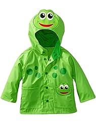 FEOYA Impermeable Chubasquero para Niños niñas Ropa Chaqueta de Lluvia con Capucha Animal bebés - verde - talla 1 2 3 4 5 6 años