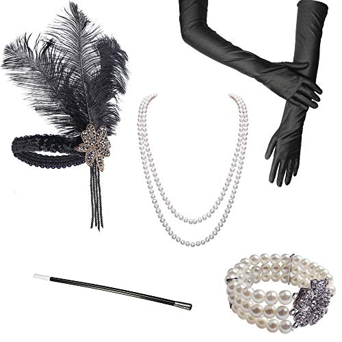 ccessoires Flapper Set Stirnband Perlen Halskette Lange Schwarze Handschuhe Zigarettenspitze Great Gatsby Motto Party Kleider Damen Kostüm Accessoires,5 in 1 (Sophie) ()