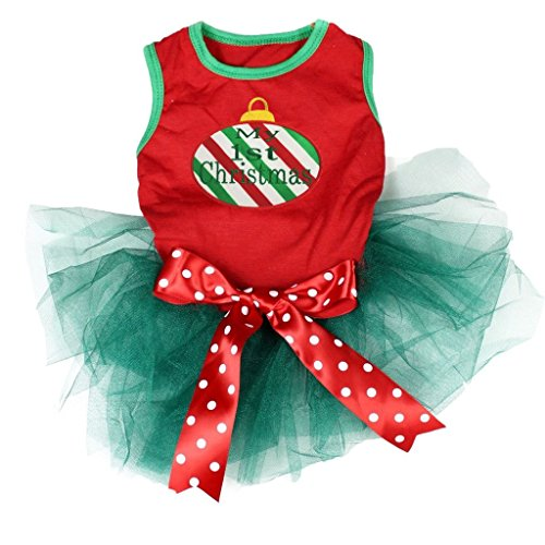 Pet Supply My 1st Christmas Candy Cane Red Teal Green Dog Dress Polka Dots Bow (S)