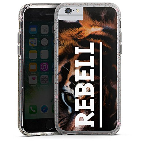 Apple iPhone 8 Bumper Hülle Bumper Case Glitzer Hülle Rebell Rebel Tiger Bumper Case Glitzer rose gold
