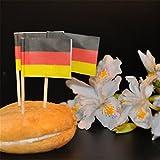 FLAMEER 50er-Set Schweden Fähnchen Papierfähnchen Papierfahnen Nationalflagge Flaggenpicker Partypicker Zahnstocher - Deutschland, 3,5 cm x 2,5 cm