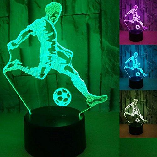 Jinson well 3D fußball spielen Nachtlicht Lampe optische Nacht licht Illusion 7 Farbwechsel Touch Switch Tisch Schreibtisch Dekoration Lampen perfekte Weihnachtsgeschenk mit Acryl Flat USB Spielzeug