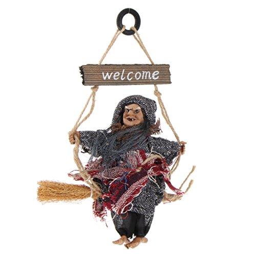 (Homyl Halloween Hexe Wanddeko Türdeko Fenster Deko Baumdeko Schild, aus Holz - grau)