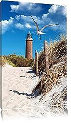 Schöner Leuchtturm am Strand Format: 100x70 auf Leinwand, XXL riesige Bilder fertig gerahmt mit Keilrahmen, Kunstdruck auf Wandbild mit Rahmen, günstiger als Gemälde oder Ölbild, kein Poster oder Plakat