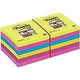 Post-it 65412SSU Notes Super Sticky (12 Blöcke à 90 Blatt, 76 x 76 mm) neongrün/ultrapink/blau/gelb/pflaumenlila