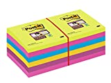 Post-It Super Sticky 65412SSU - Pack de 12 blocs de notas, 76 x 76 mm, 90 hojas/bloc, colores surtidos