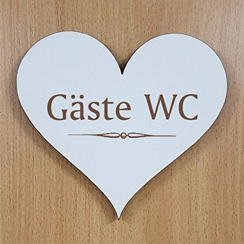 Schild Herz « GÄSTE WC » ca. 13 x 12 cm - selbstklebendes Türschild Dekoschild Wohnaccessoires - Toilette Besuchertoilette