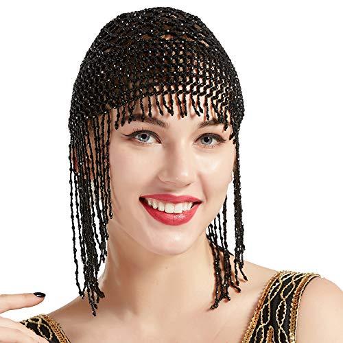 ArtiDeco 1920s Stirnband Damen Gatsby Haar Kette Exotisch Cleopatra Kostüm Accessoires 20er Jahre Flapper Blinkendes Haarband (Schwarz) (Cleopatra Kostüm Schwarz)