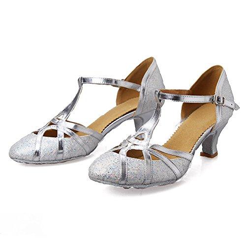 HIPPOSEUS Donna Ballroom Scarpe da ballo /sala da ballo scarpe/Scarpe da ballo latino standard di Raso,Modello-ITCMJ51 Argento-1