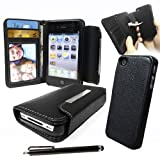 LOVE MY CASE / Apple iPhone 4S / 4 / Black PU Leather Wallet Case with Removable Hard Case + Screen protector & Stylus