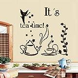 Es ist Tee Zeit Fee Mit Zauberstab Teekanne Und Tasse Kreatives Design Diy Wandaufkleber Küche Aufkleber Wohnkultur Restaurant Dekoration 59x59cm