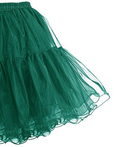 Bridesmay Donna 50s Vintage Sottoveste Rete Sottogonna Retro Breve Tutu Gonne Dark Green