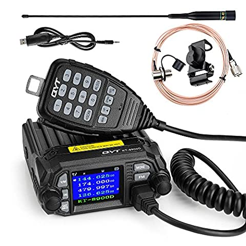 QYT KT-8900D 25W New Version Mobile Transceiver Two-Way Radios136~174/400~480MHz Quadstandby Amateur Car Radio+Programming Cable+NL-R2 Antenna -