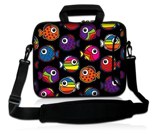 Luxburg® Design Laptoptasche Notebooktasche Sleeve mit Schultergurt und Fach für 13,3 Zoll, Motiv: bunte Fische