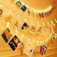 KNONEW 20 LED Photo Clip Cuerda Luces- 3 Metros LED Luces para decoración Foto Colgante, Notas, Obras de Arte (Blanco cálido)