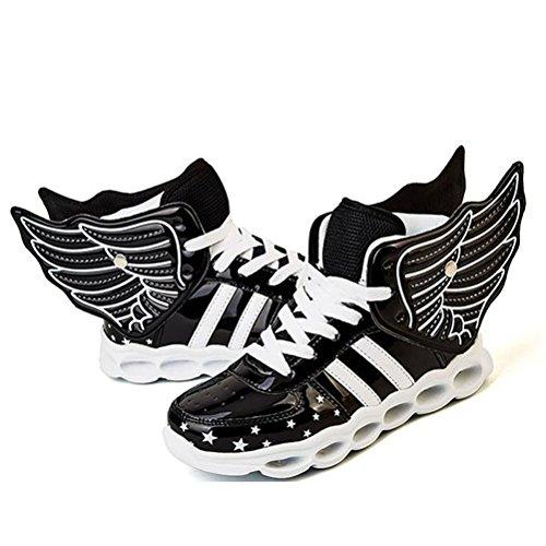 LED Leuchten Schuhe Turnschuhe Laufschuhe für Kinder Jungen Mädchen 4 Farben Blinkende Flügel Sportschuhe (EU 25, ()