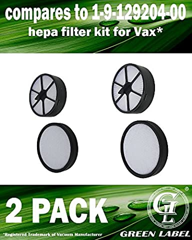 2 Pack HEPA Filter Kit For Vax C91-MZ Mach Zen Series Vacuum Cleaners (compares to 1-9-129204-00). Genuine Green Label Product.