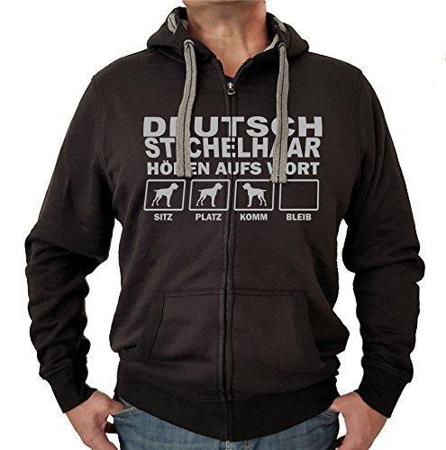 DEUTSCH STICHELHAAR Jagdhund Jäger DK - JACKE HÖREN AUFS WORT Motiv Siviwonder Unisex HUND Kapuzen Zip Pullover Sweatjacke Hunde schwarz 4XL (Dk Herren-kapuzen-zip-sweatshirt)