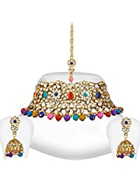 Spargz Gold Plated Multicolor Kundan Pearl Choker Indian Bollywood Bridal Jewelry Set For Women AINS_251