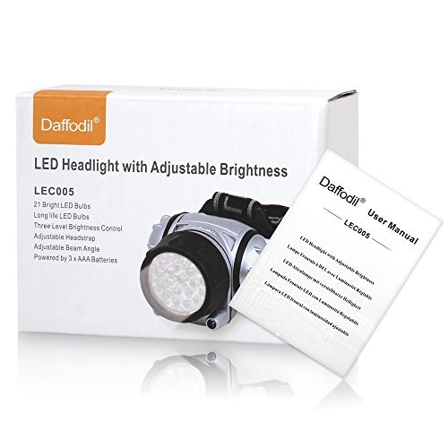 Daffodil LEC005 - LED Headlamp with Adjustable Brightness - High performance LED Head Lamp with Flexible Bands and Angles - 4 Light Modes with Flash Light - Perfect for Cycling, Climbing, Mountain Biking, Camping - Battery (3xAAA Not Included)