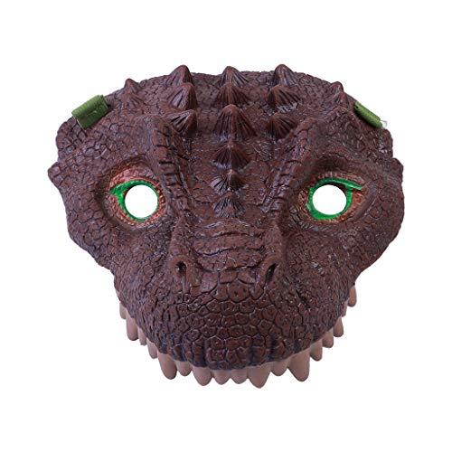 Hffan Neuheit Halloween Kostüm Party Tierkopf Maske Dinosaurier Party Triceratops der Dinosaurier Masken Cosplay Spielzeug Dinosaurier Latex Kostüm Stütze Unheimlich Maske (Kuchen Barbie Halloween)