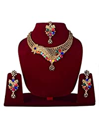 Majik Party Wear Necklace Set With Earrings And Maang Tikka Set For Bridal Girls, Multicolour, 50 Gram, Pack Of 1