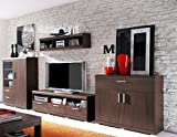 Dreams4Home Wohnzimmer Set 'Henrie' - Wandboard B/HT: 120 x 30 x 30 cm, TV-Unterschrank B/H/T: 150 x 50 x 53 cm, Kommode B/H/T: 100 x 92 x 40 cm, Highboard B/H/T: 100 x 132 x 40 cm, Wohnzimmer, Eiche Sonoma dunkel
