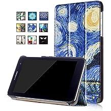 Huawei T1 7.0 Funda,Azul oscuro Ultra Slim PU Cuero Carcasa Piel Flip Case Cover para Huawei MediaPad T1 7.0 Tablet(17,78cm) Funda de Cuero con Soporte Function
