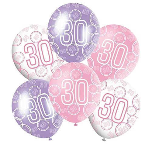30th Mixed Pink/White/Purple Glitz Girls Classy Happy Birthday