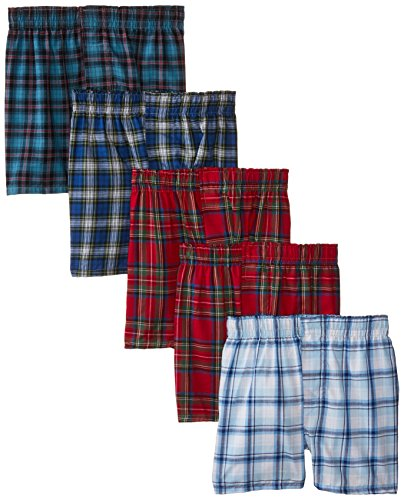 Hanes Big Boys' Boxer 5 Pack, Tartan, Small (Tartan-plaid Jungen Boxer)