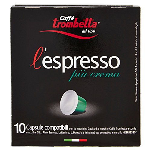 Caffè trombetta l'espresso più crema - 8 confezione da 10 capsule [tot. 80 capsule]