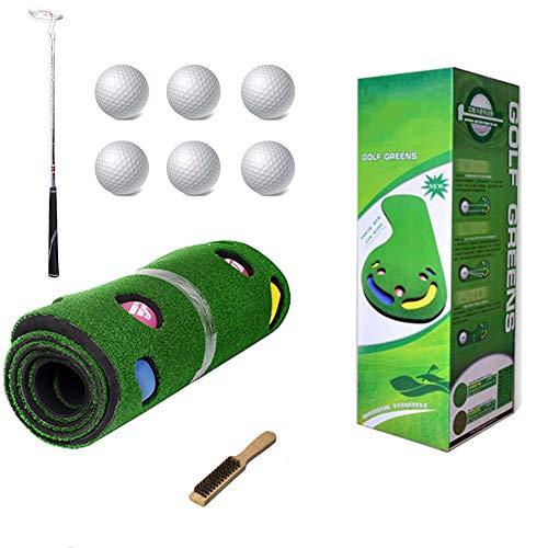 Mscxj Golf Putting Matten, Haus Golf Putting Matten, Putt Striche, Golfübungsgeräte Zuhause, 300 x 90 cm (Color : Inclued Putter)