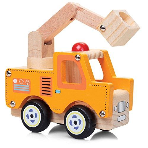 Preisvergleich Produktbild Kran-Wagen / Werkstatt-Wagen / Baustelle Holz-Spielzeug-Auto 13 cm lang