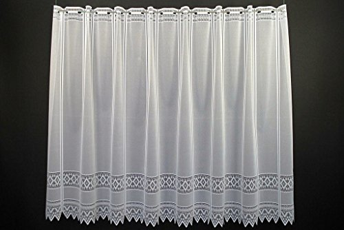 Scheibengardine Jacquard grafisch 70 cm hoch | Breite der Gardine durch gekaufte Menge in 13 cm Schritten wählbar (Anfertigung nach Maß) | Weiß | Vorhang Küche Wohnzimmer