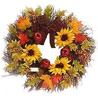 Weihnachtskranz Sonnenblume Maple Leaf Bowknot Weihnachtskranz Home Window Mall Hotel Dekoration Anhänger Weihnachtskranz