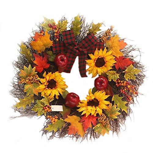 iStary Deko-Kranz Sonnenblume Maple Leaf Bowknot Weihnachtskranz Kranz Kürbis Türkranz Wandkranz Hotel Dekoration Anhänger ()