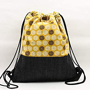 Rucksackhandtaschen. Stoff Kordel Rucksäcke. Vegane Tasche. Kordelzug Tasche