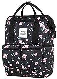 HotStyle DISA Fashion Blumen Damen Laptop Rucksack 14 zoll (44x27x17cm) - Rose Schwarz