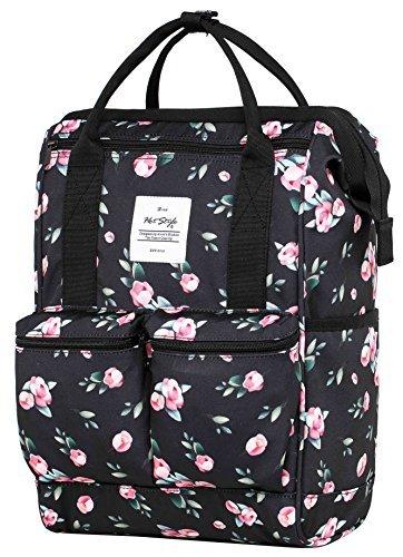HotStyle DISA Fashion Blumen Damen Laptop Rucksack 14 zoll (44x27x17cm) - Rose Schwarz (Army Bag Junior Handtaschen)